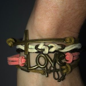 Colorful love and cross bracelet